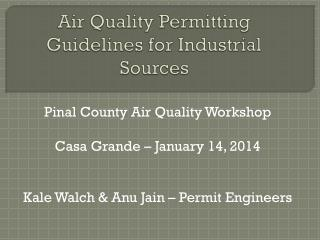 Air Quality Permitting Guidelines for Industrial Sources