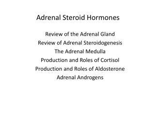 Adrenal Steroid Hormones
