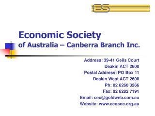 Economic Society of Australia – Canberra Branch Inc.