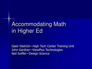 Accommodating Math in Higher Ed