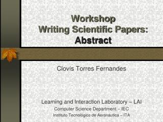 Workshop Writing Scientific Papers: Abstract