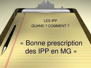 «Bonne prescription des IPP en MG»