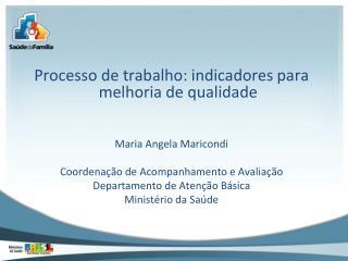 Processo de trabalho: indicadores para melhoria de qualidade Maria Angela Maricondi