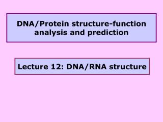 DNA/Protein structure-function analysis and prediction