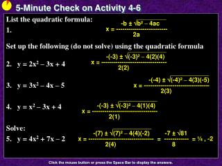 5-Minute Check on Activity  4-6