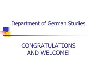 Department of German Studies