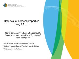 Retrieval of aerosol properties using AATSR