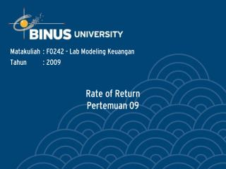 Rate of Return Pertemuan 09