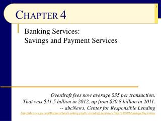 Banking Services: Savings and Payment Services
