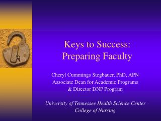 Keys to Success: Preparing Faculty