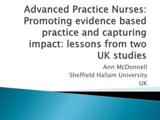 Ann McDonnell Sheffield Hallam University UK