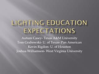 Lighting Education Expectations