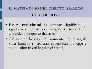 IL MATRIMONIO NEL DIRITTO ISLAMICO