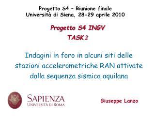 Progetto S4 INGV TASK  2