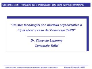 Consorzio TeRN -  Tecnologie per le Osservazioni della Terra e per i Rischi Naturali