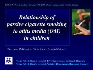 Relationship of  passive cigarette smoking to otitis media (OM)  in children