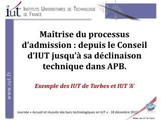 Journée «Accueil et réussite des bacs technologiques en IUT» - 18 décembre 2012