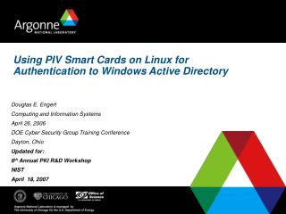 Using PIV Smart Cards on Linux for Authentication to Windows Active Directory