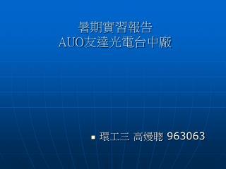 暑期實習報告 AUO 友達光電台中廠