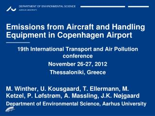 Emissions from Aircraft and Handling Equipment in Copenhagen Airport