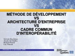 MÉTHODE DE DÉVELOPPEMENT VS ARCHITECTURE D'ENTREPRISE VS CADRE COMMUN D'INTEROPÉRABILITÉ