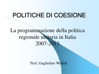 POLITICHE DI COESIONE