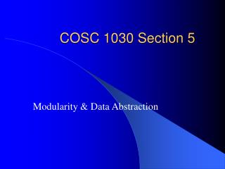 COSC 1030 Section 5