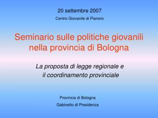 Seminario sulle politiche giovanili  nella provincia di Bologna
