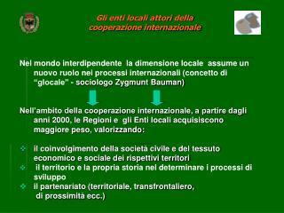 Gli enti locali attori  della  cooperazione internazionale