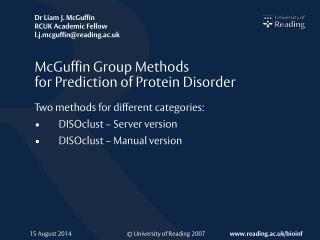 McGuffin Group Methods  for Prediction of Protein Disorder