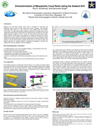 Characterization of Mesophotic Coral Reefs Using the Seabed AUV