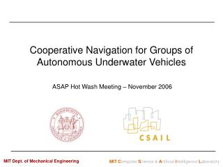 Cooperative Navigation for Groups of Autonomous Underwater Vehicles