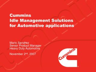 Cummins Idle Management Solutions for Automotive applications