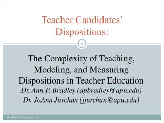 Teacher Candidates' Dispositions: