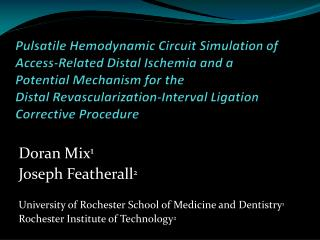Doran Mix 1 Joseph Featherall 2 University of Rochester School of Medicine and Dentistry 1