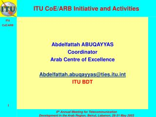 ITU CoE/ARB Initiative and Activities
