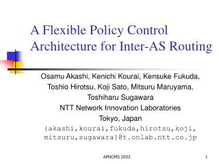 A Flexible Policy Control Architecture for Inter-AS Routing