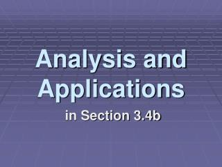 Analysis and Applications