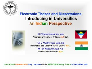 Electronic Theses and Dissertations  Introducing in Universities A n Ind ian Perspective