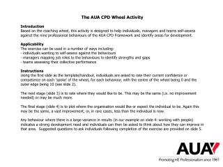 The AUA CPD Wheel Activity Introduction