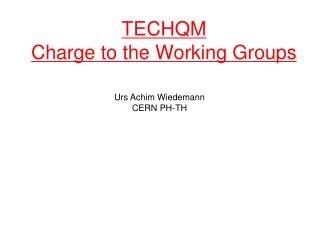 TECHQM Charge to the Working Groups