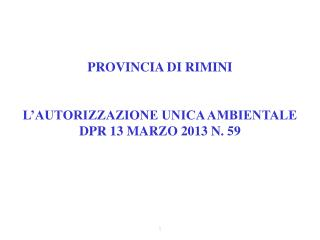 PROVINCIA DI RIMINI  L�AUTORIZZAZIONE UNICA AMBIENTALE DPR 13 MARZO 2013 N. 59
