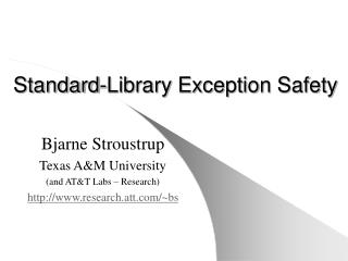 Standard-Library Exception Safety