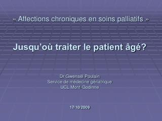 « Affections chroniques en soins palliatifs »