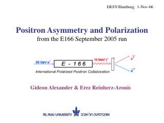 Positron Asymmetry and Polarization from the E166 September 2005 run