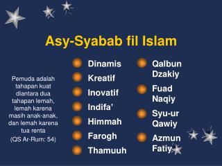 Asy-Syabab fil Islam