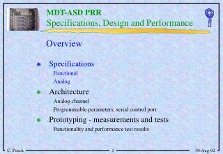 Specifications, Design and Performance