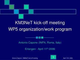 KM3NeT kick-off meeting  WP5 organization/work program