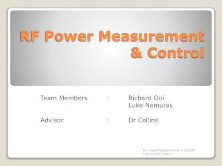 RF Power Measurement & Control