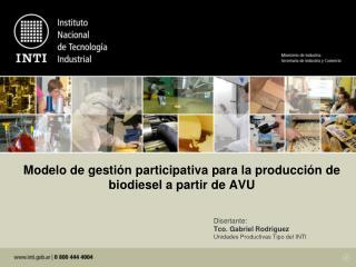 Modelo de gestión participativa para la producción de biodiesel a partir de AVU
